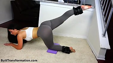 Hot & sexy brunette MILF in tight see-through leggings workout ass exposure