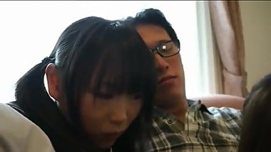 Busty Japanese School Girl & Bf Ask Shy Friend to Join
