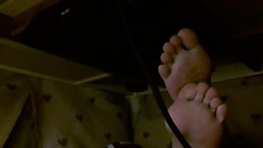 Candid Soles of Japanese Girl Under Kotatsu