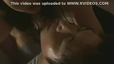 japanese milf and man neck kissing