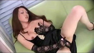 Asian girl play with dildo