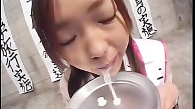 Asian teen eating cum from plate