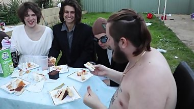 4 men eat pube cake in hot foursome