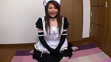 Japanese maid gives handjob
