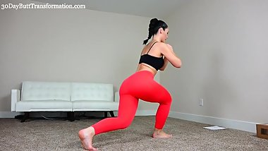 Hot & sexy brunette MILF works her big ass out in tight see-through spandex