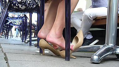 Young Japanese Girly Dipping With High Heels