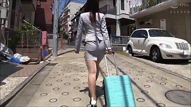 Japanese girl in business suit gets molested